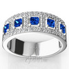 Sapphire princess cut with diamonds wedding anniversary band