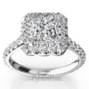 Princess center halo micro pave engagement ring