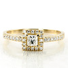 Halo style bead set emerald cut yellow